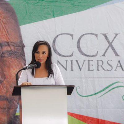 En aniversario de Juárez, Alcaldesa llama a la unidad en Puerto Morelos