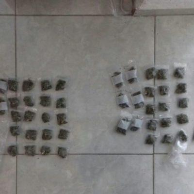 Policías estatales detienen a dos personas con presuntas dosis de estupefacientes