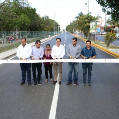 Entregan obra de reconstrucción de carpeta asfáltica en Avenida Los Tules de Cancún