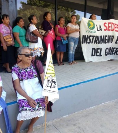 Campesinos protestan en Mérida por apoyo de Sedesol al priista Meade