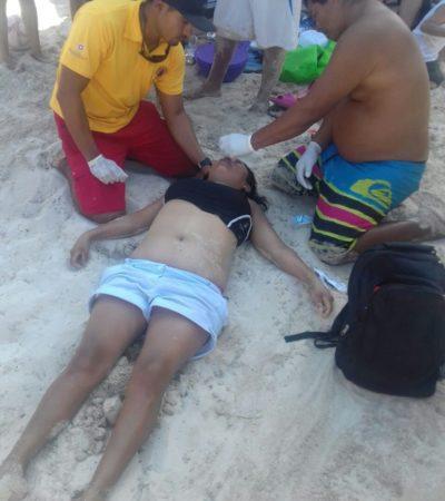 Rescatan a joven a punto de ahogarse en cenote de Punta Esmeralda