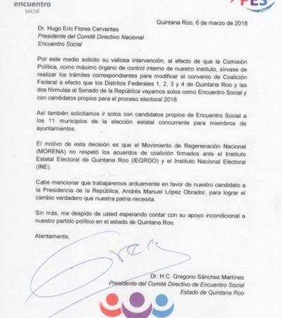 Oficializa PES Quintana Roo pretensión de rompimiento con Morena y PT
