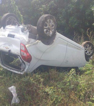 Turistas italianos sufren aparatosoaccidente carretero en la Riviera Maya