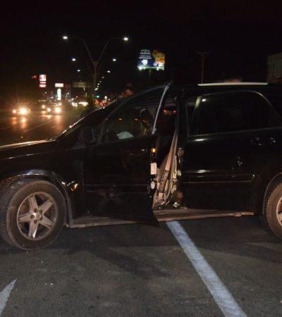 Militares ebrios chocan camioneta en la Portillo de Cancún