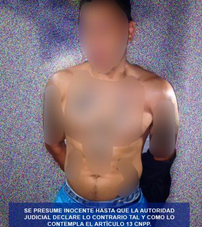 Aseguran policías estatales a hombre con presunta droga en Cancún