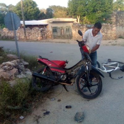 Motociclista ebrio casi arrolla a niños en Tihosuco