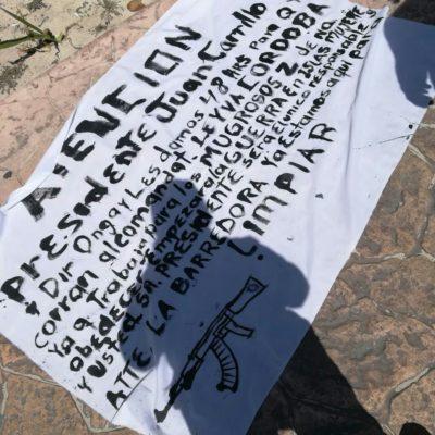 Aparece presunta narcomanta en Isla Mujeres para amenazar al Alcalde Juan Carrillo con una 'guerra' si no despiden a mando policiaco