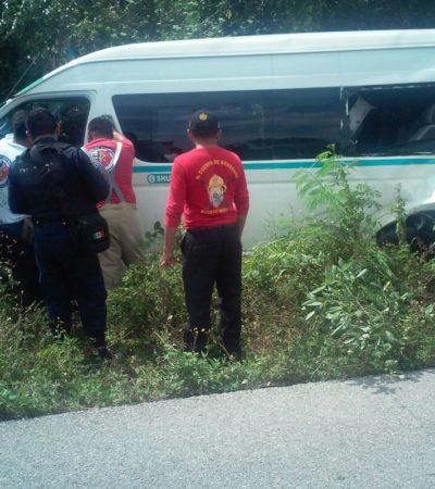 ACCIDENTE EN LA CARRETERA CANCÚN-PUERTO MORELOS: Camión choca a combi del transporte foráneo por alcance con saldo de 9 heridos