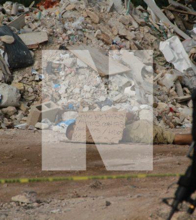 HALLAN EN CANCÚN A UN MANIATADO Y A OTROS DOS EMBOLSADOS EN 'VIERNES SANTO': Aparece cadáver con presunto narcomensaje en la salida hacia Mérida y otros dos en la colonia El Pedregal