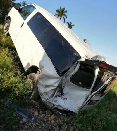 ACCIDENTE DE IRAQUÍ EN BACALAR: Dos lesionados en accidente a la altura de Pedro A. Santos