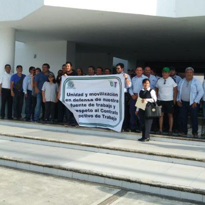 Plantón de telefonistas en Chetumal en contra de la escisión de Telmex