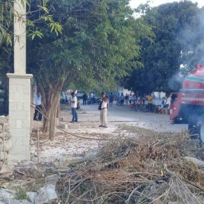 Se quema bodega en Carrillo Puerto