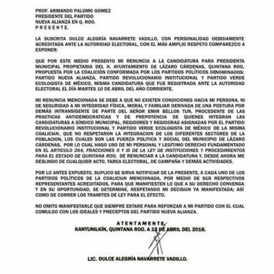 Renuncia candidata a presidenta municipal en Lázaro Cárdenas por la alianza PRI-PVEM-Panal