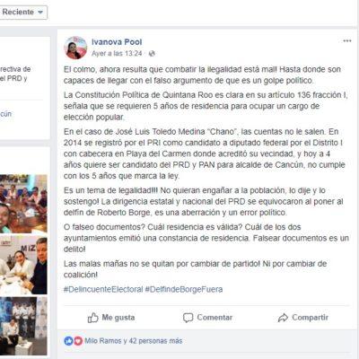 """'Festejan' Emiliano e Ivanova rechazo del Ieqroo a candidatura de """"Chanito"""""""