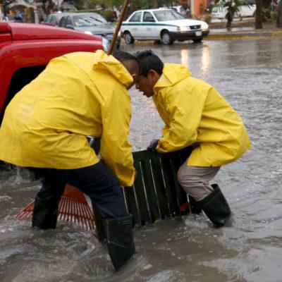 Por canal de baja presión, se activa Operativo de lluvias en Cancún