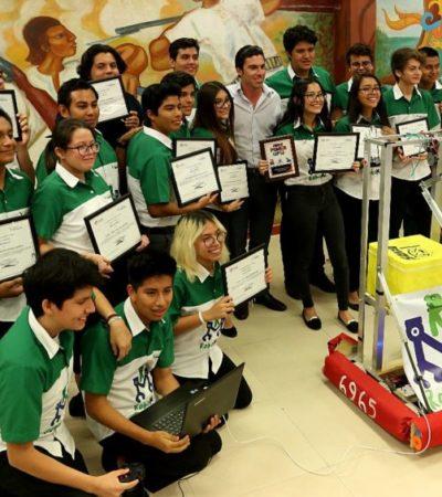 Cancunenses ganan premio 'Rookie Inspiration' en concurso de robótica