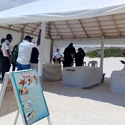 Fuerzas policiales y militares realizan censo de prestadores de servicios en playas de Cancún