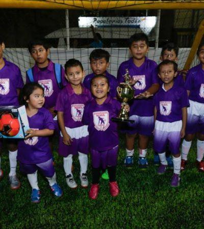 Rehabilitan cancha de Fútbol 7 en Puerto Aventuras