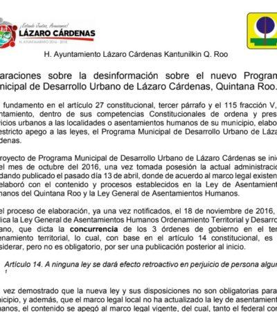 Ayuntamiento de Lázaro Cárdenas responde a acusaciones sobre PDU