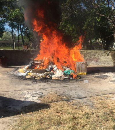 Militares incineran más de 400 kilogramos de droga en Cancún