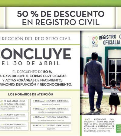 Expiden copias certificadas de actas de en Benito Juárez hasta el 30 de abril