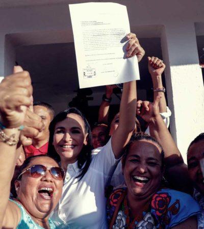 Laura Fernández se registra como candidata a la presidencia municipal de Puerto Morelos
