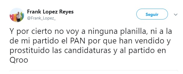 Afirma Frank López que no va a ningún partido