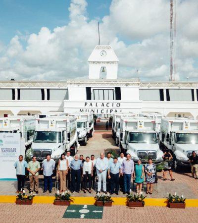 Entrega Fideicomiso de Saneamiento Ambiental 8 camiones de basura en Solidaridad