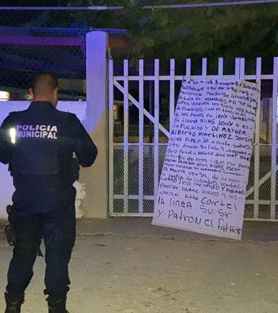 Colocan narcomantas en escuelas de Cancún