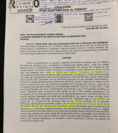 SUSTITUYE EL 'FRENTE' A 'CHANITO'… POR 'CHANITO': Pocos minutos antes de vencer plazo, alianza PAN-PRD-MC solicita formal inscripción de Toledo Medina como candidato a la presidencia municipal de Cancún