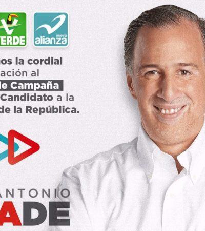 VISITA DE CANDIDATOS: José Antonio Meade hará gira por Cozumel, Playa del Carmen y Cancún el lunes 30 de abril