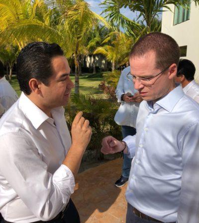 RECIBE 'CHANITO' RESPALDO DE ANAYA: Participa Toledo Medina en reunión del candidato del 'Frente' con el Gobernador y candidatos durante su visita a QR