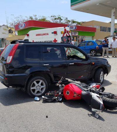 Motociclista sale herido al estrellarse contra camioneta que le cerró el paso en la Ruta 4