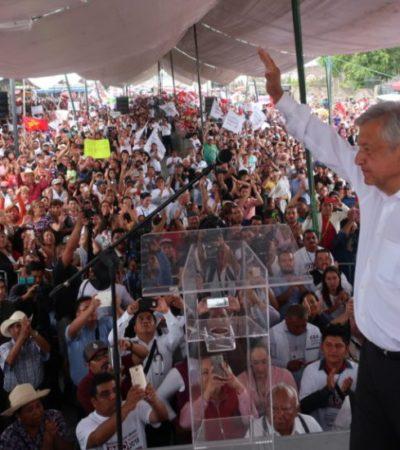 """""""¡MUCHO OJO, MEADE!, PORQUE TE QUIEREN SACRIFICAR"""": López Obrador le dice al priista que si va a perder, que pierda con dignidad; sobre Anaya, alega que es un """"mentirosillo"""" que lo único que sabe es hacer negocios y lavar dinero"""