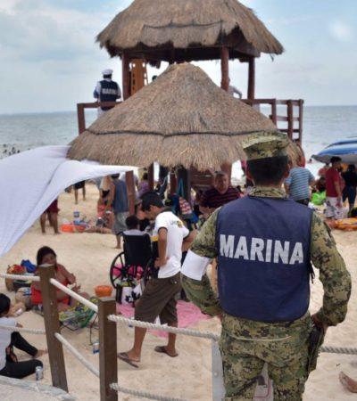 Refuerzan vigilancia de playas en Cancún con elementos de la Policía Federal y de la Marina