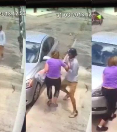 INSEGURIDAD EN COZUMEL: Robo a punta de pistola a plena luz del día es grabado en video