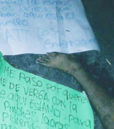 """""""YA LO DIJO 'EL BRONCO', CORTARLE LAS MANOS A LOS LACROSOS"""": Aparece en Acapulco cuerpo desmembrado con ominoso mensaje tras el debate"""