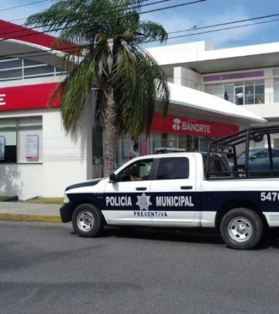 """Para prevenir los robos, arrancó el programa """"Acompañamiento Bancario"""" en Cancún; personas o empresas pueden pedir custodia para realizar retiros o depósitos en bancos de la ciudad"""