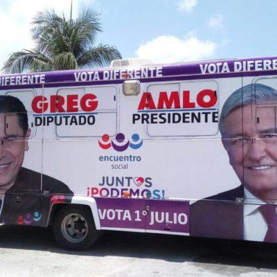 DOCUMENTO OFICIAL: Pide 'Juntos Haremos Historia' al PES retirar publicidad de Greg en 35 unidades de transporte público de Cancún
