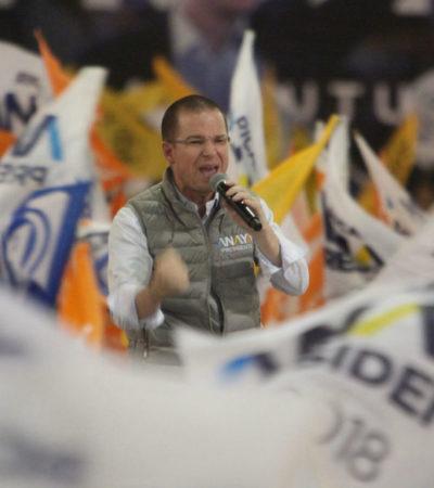 Anaya reitera que no buscará pacto con Peña Nieto ni con José Antonio Meade para vencer a AMLO