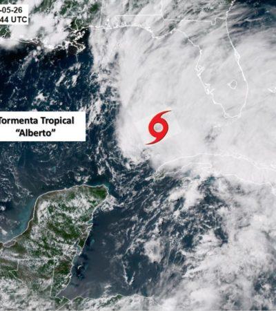 La Tormenta Tropical 'Alberto' se aleja gradualmente de la Península de Yucatán