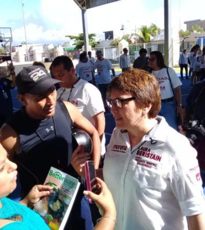 Laura Beristain inicia su campaña en Villas del Sol criticando la inseguridad en Solidaridad