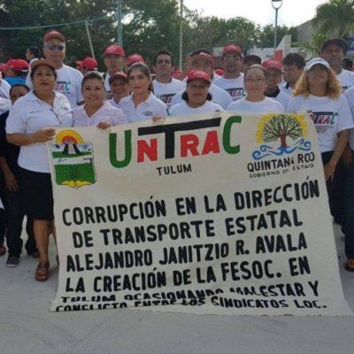 En desfile del Día del Trabajo en Tulum, la Untrac repudia a Alejandro Ramos Hernández
