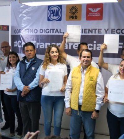 """Sin automóviles oficiales ni estacionamiento privado ni celulares pagados por el erario público, los """"Compromisos por Cancún"""", junto con declaraciones 3 de 3, fueron presentadas por la coalición PAN-PRD-MC que aspira gobernar Cancún"""