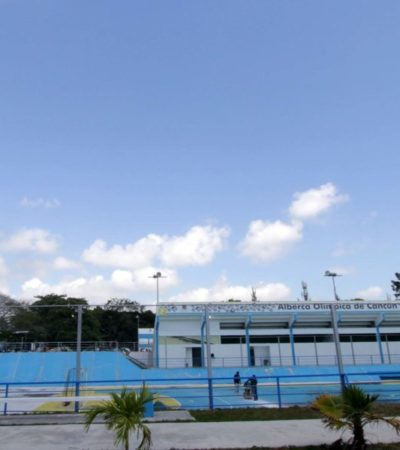Rehabilitación del Alberca Olímpica de Cancún está al 80%
