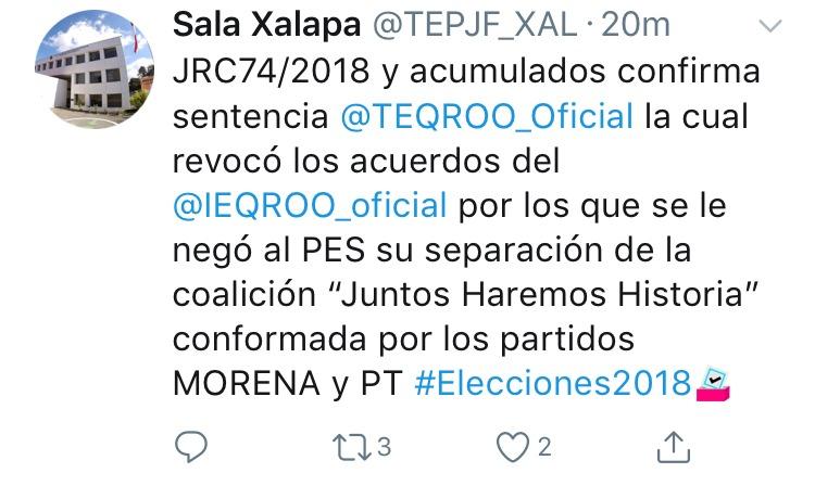 Ieqroo y Morena son exhibidos con fallo de Tribunal federal: PES