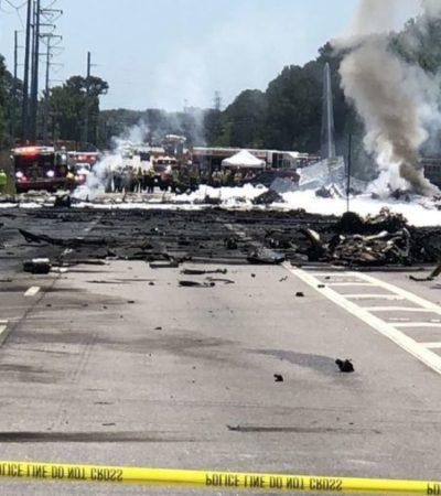 Avión de la Guardia Nacional se estrella en carretera de EU; al menos cinco muertos