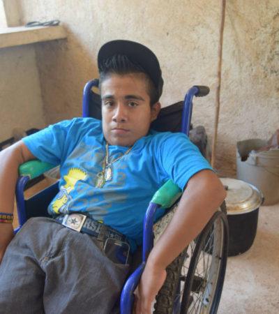Oscar Manuel Cime Tun, deportista discapacitado, sigue esperando su silla de ruedas para competir