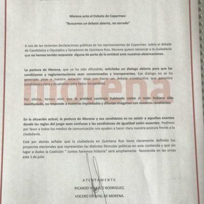 Reitera Morena que candidatos al Congreso de la Unión no participarán en debate este miércoles