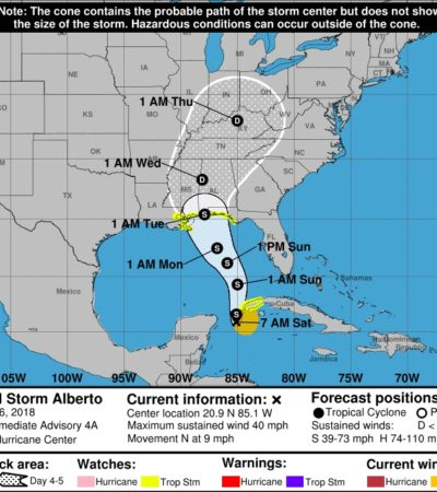 MONITOREO EN EL CARIBE: Se mantiene tormenta 'Alberto' frente a costas de QR, pero avanza hacia el norte